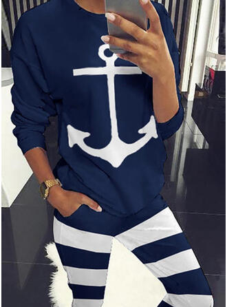 Striped Print Casual Sporty Stretchy Suits