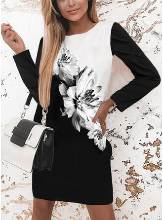 Print/Floral/Color Block Long Sleeves Shift Above Knee Casual Tunic Dresses