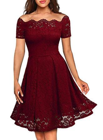 Lace/Solid Short Sleeves A-line Knee Length Vintage/Little Black/Party/Elegant Skater Dresses