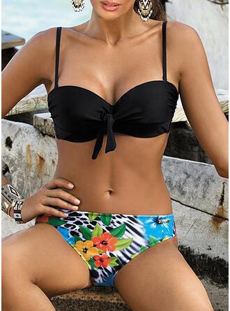 Floral Empujar Anudado Correa Sexy Lindo Bikinis Trajes de baño