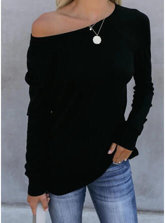 Sólido Cuello redondo Manga Larga Casual Básico Camisetas