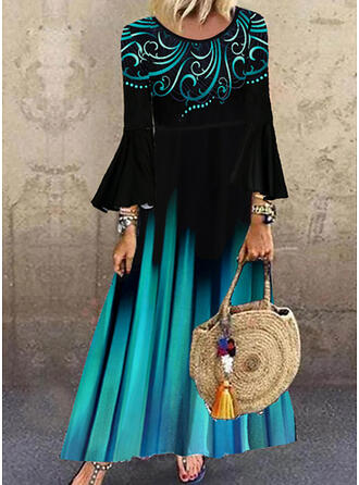 Print Long Sleeves/Flare Sleeves Shift Casual Maxi Dresses