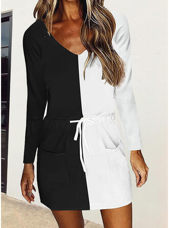 Color Block Long Sleeves Sheath Above Knee Casual Dresses