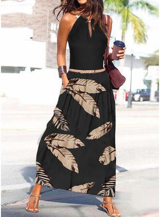 Print Sleeveless A-line Skater Casual/Vacation Maxi Dresses