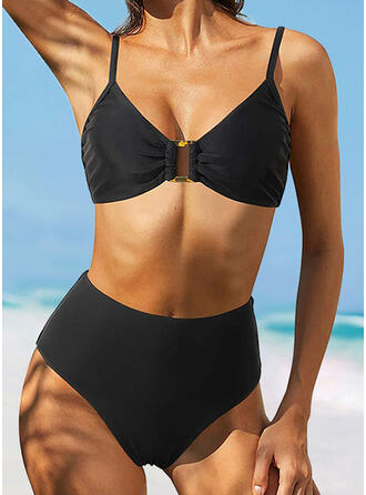 Solid Strap V-Neck Casual Vacation Bikinis Swimsuits