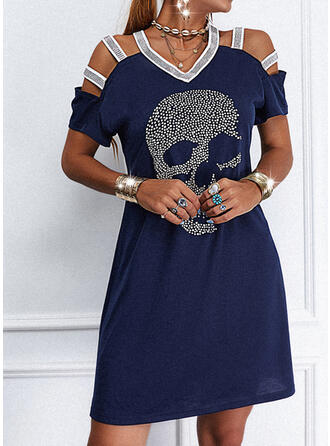 Sequins/Solid Short Sleeves Sheath Above Knee Casual Dresses