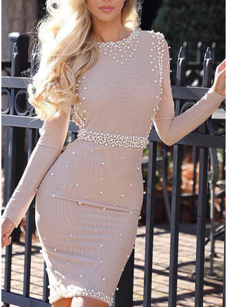 Solid/Beaded Long Sleeves Bodycon Knee Length Elegant Pencil Dresses