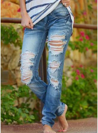 Shirred Plus Size Ripped Tribal Vintage Denim & Jeans