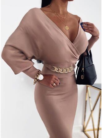 Solid Long Sleeves/Lantern Sleeve Bodycon Knee Length Party/Elegant Pencil Dresses