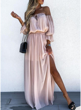Solid 3/4 Sleeves A-line Skater Casual/Vacation Maxi Dresses