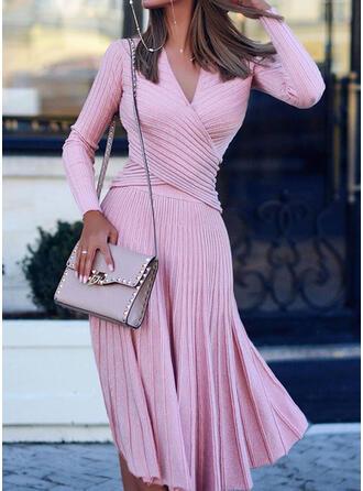 Sólido Cuello en V Casuales Largo Vestido de Suéter