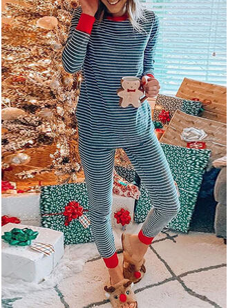 Polyester Striped Long Sleeves Christmas Pyjama Set