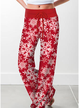 Print Drawstring Christmas Casual Vintage Pants