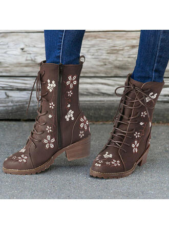 Women's PU Chunky Heel Mid-Calf Boots Martin Boots Round Toe With Zipper Floral Print shoes