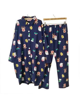 Cotton Long Sleeves Cartoon Christmas Santa Pyjama Set