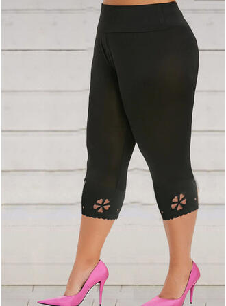 Solid Plus Size Casual Stretchy Leggings