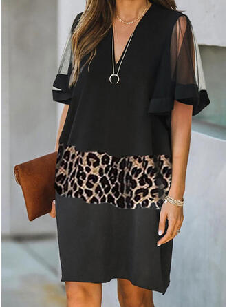 Leopard Short Sleeves Shift Knee Length Elegant Dresses