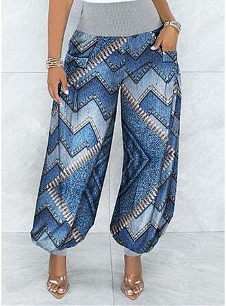 Print Geometric Long Casual Vintage Pocket Shirred Lounge Pants