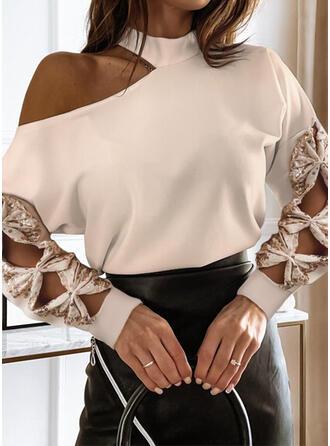 Solid Sequins One Shoulder Long Sleeves Dropped Shoulder Elegant Blouses