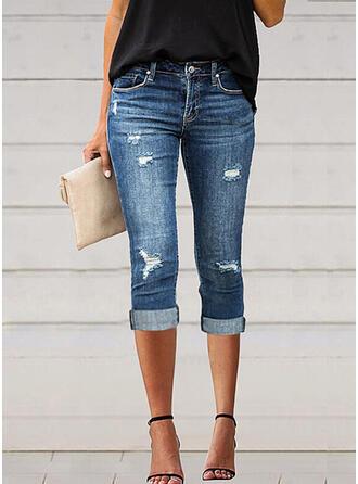 Solid Denim Capris Casual Plus Size Pocket Shirred Ripped Denim & Jeans