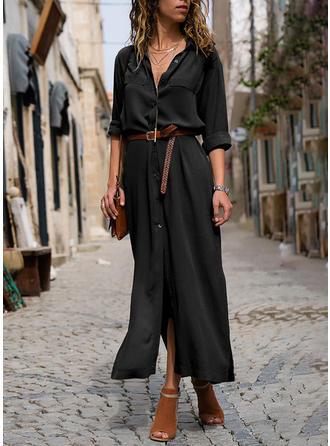 Solid Long Sleeves A-line Shirt Little Black Maxi Dresses