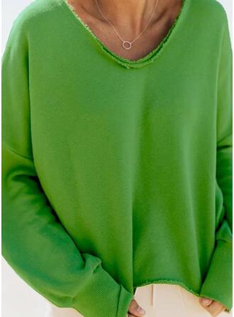 Solid Long Sleeves Sweatshirt